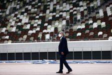 IOC President Thomas Bach Visits 2020 Olympic Stadium and Athletes Village