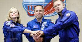 Beautiful Russian Actress Yulia Peresild, Russian Cosmonaut Anton Shkaplerov and Filmmaker Klim Shipenko Blast Off To The ISS To Shoot A Film…!
